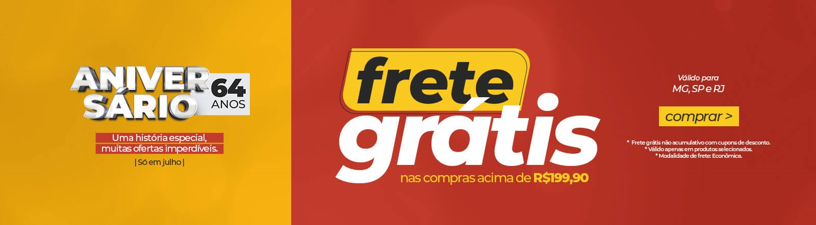 Banner Frete Grátis Junho Times
