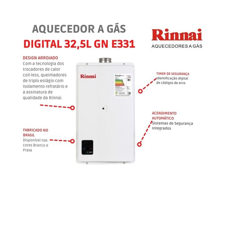 Aquecedor a Gás Digital 32,5L GN E33 1 FEH Branco Rinnai