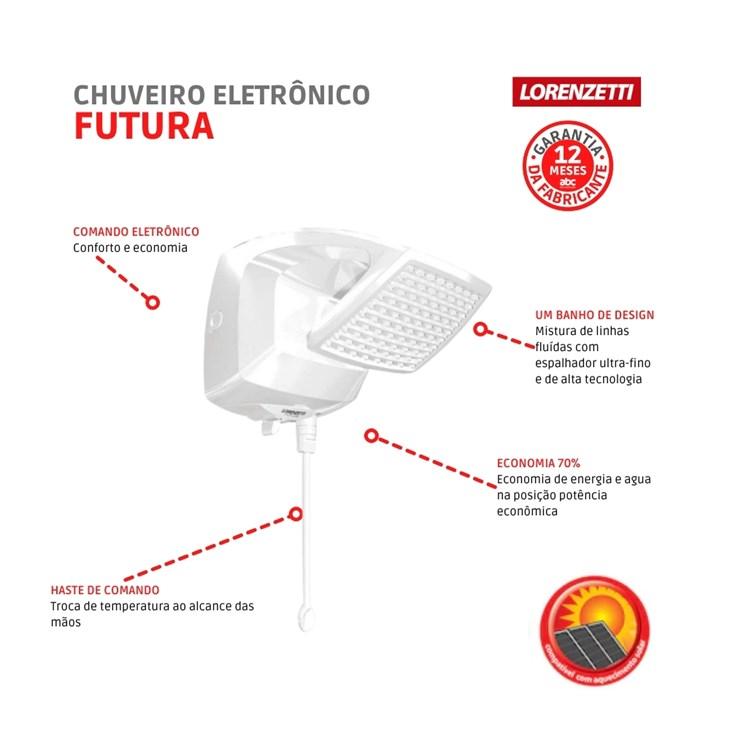 Chuveiro de Parede Eletrônico Futura 220V 7500W Branco Lorenzetti