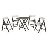 Conjunto De Mesa Com 4 Cadeiras Em Madeira Pontenza Tauari 10630/028 Tabaco/branco Tramontina