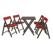 Conjunto de Mesa com 4 Cadeiras em Madeira Pontenza Tauari 10630/029 Tabaco/Vermelho Tramontina