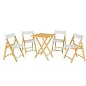 Conjunto De Mesa Com 4 Cadeiras Em Madeira Pontenza Tauari 10630/031 Envernizado/branco Tramontina