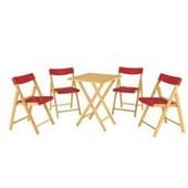 Conjunto de Mesa com 4 Cadeiras em Madeira Pontenza Tauari 10630/032 Tabaco/Vermelho Tramontina