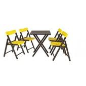 Conjunto De Mesa Com 4 Cadeiras Em Madeira Pontenza Tauari 10630/045 Tabaco/amarelo Tramontina