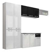 Cozinha De Aço Amanda 2,45x1,65m Branco/preto Itatiaia