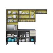 Cozinha Midi Pop Art I2 4 Peças com Paneleiro Itatiaia Grafite/Off White/Amarelo Claro