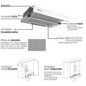 Depurador de Parede Retratil 60CM Slide 220V 94810/006 Inox Tramontina