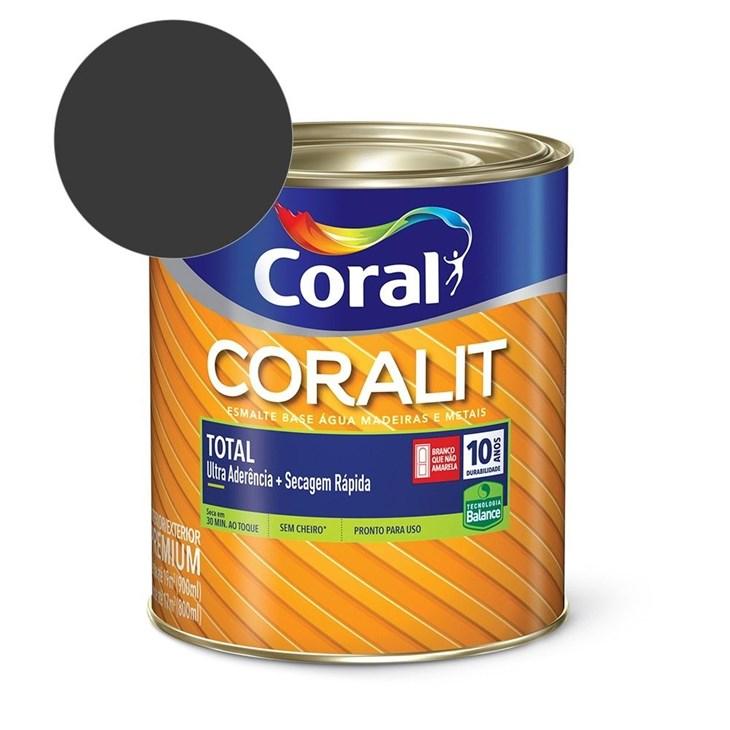 Esmalte Coralit Secagem Rapida Brilhante Preto 900Ml Coral