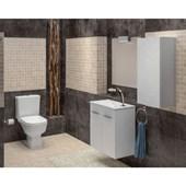 Gabinete para Banheiro Suspenso de Madeira Cube 60X34CM com Portas Branco Celite