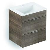 Gabinete Para Banheiro Suspenso De Madeira Cube 65x43cm Com 2 Gavetas Branco Celite