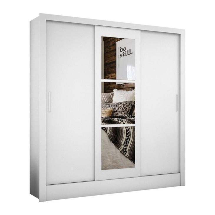 Guarda Roupa Casal 3 Portas com Espelho Barcelona Branco Carioca Móveis