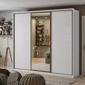 Guarda-roupa Casal C/ Espelho 3 Portas 6 Gavetas Spazio Glass Branco Lopas