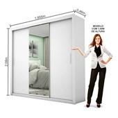 Guarda-roupa Melissa Glass 3 Portas Com Espelho Branco Carioca Móveis