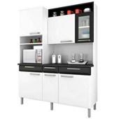 Kit Cozinha de Aço Regina 2,0X1,55M 6 Portas e 3 Gavetas I3VG3-155 Branco/Preto Itatiaia
