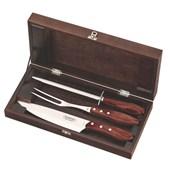 Kit para Churrasco em Inox Polywood com 4 Peças e Estojo de Madeira 21198/764 Vermelho Tramontina