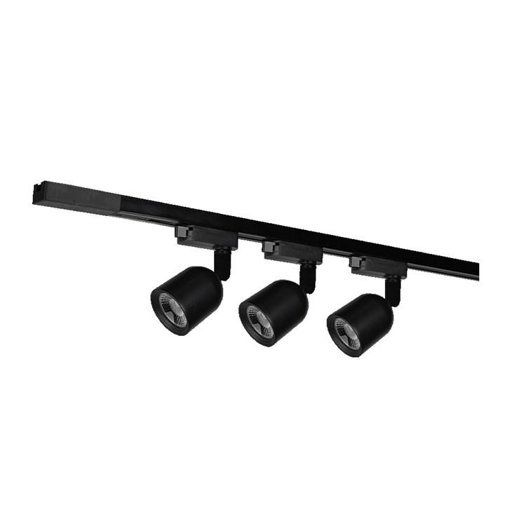 Kit Trilho Elegance Preto Fosco 3 Spots de 7W 6500K Emissão de Luz Branca Avant