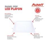 Painel LED de Embutir Quadrado POP 22CM 18W 4000K Bivolt Emissão de Luz Neutra Avant