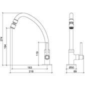 Torneira Para Cozinha De Mesa Fit Slim Cromada 1167 C31 Lorenzetti
