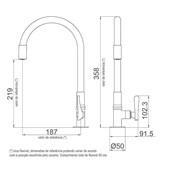 Torneira Para Cozinha De Mesa Flex 1177 B27 Preta Cromada Lorenzetti