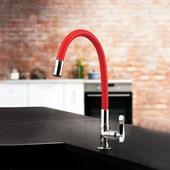 Torneira Para Cozinha De Mesa Flex R27 Vermelha Cromada Lorenzetti